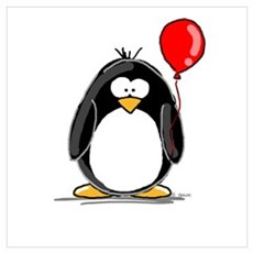 Red Balloon Penguin Poster