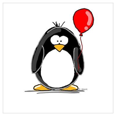 Red Balloon Penguin Poster