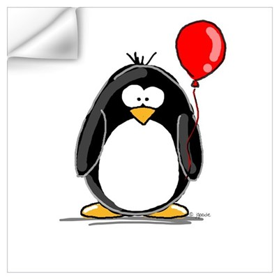 Red Balloon Penguin Wall Decal