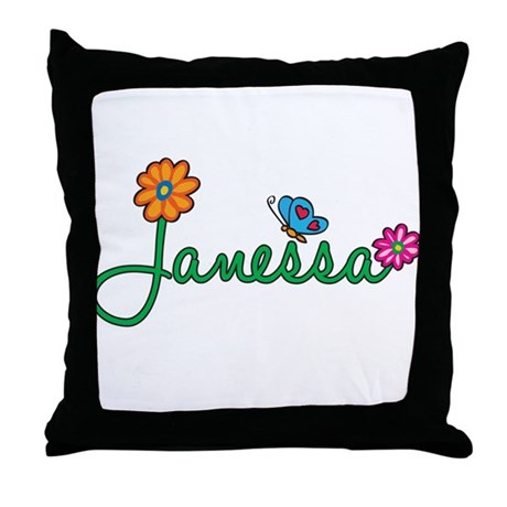 Janessa Flowers Throw Pillow