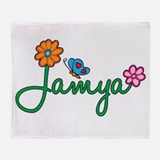 Jamya Flowers Throw Blanket