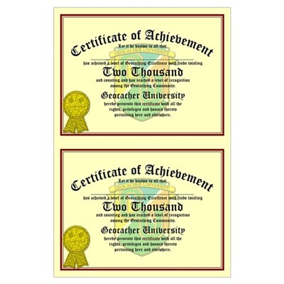 Certificate of Achievement - 2000 (Double Poster