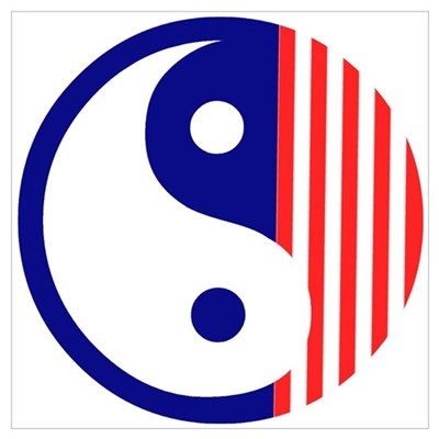 Red White and Blue Yin Yang Poster