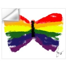 Artistic Gay Pride Butterfly Wall Decal