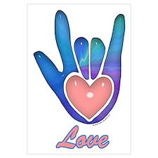 Blue Glass Love Hand