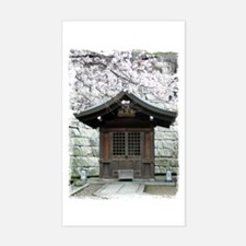 Cherry Blossoms and Shrine in Sticker (Rectangular