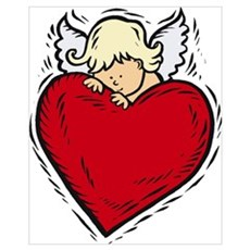 Valentine Angel with Heart Poster