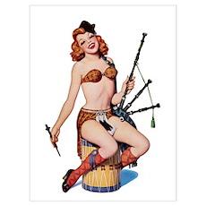 Scottish Bag Pipes Girl Poster