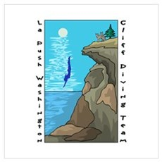 Cliff Diving Team Framed Print