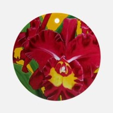 Orchid Oil on Canvas Ornament (Round)