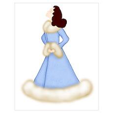 Brunette Diva in Fur-Trimmed Blue Robe Poster