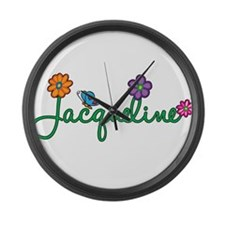 Jacqueline Flowers Large Wall Clock