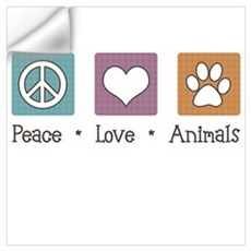 Peace Love Animals Wall Decal