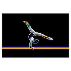 Gymnast on a Rainbow Beam Poster