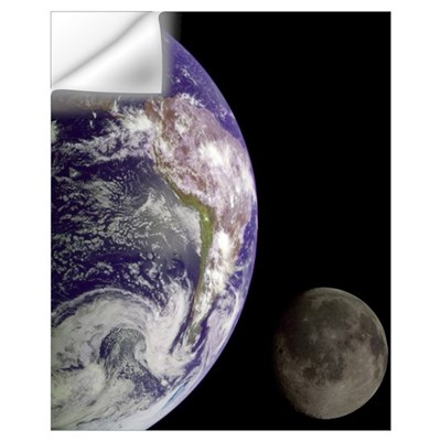 """Earth and Moon"" Wall Decal"