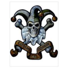 Skull and Cross Bones Jester Poster