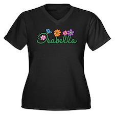 Isabella Flowers Women's Plus Size V-Neck Dark T-S