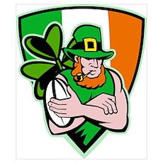 Irish leprechaun rugby Poster