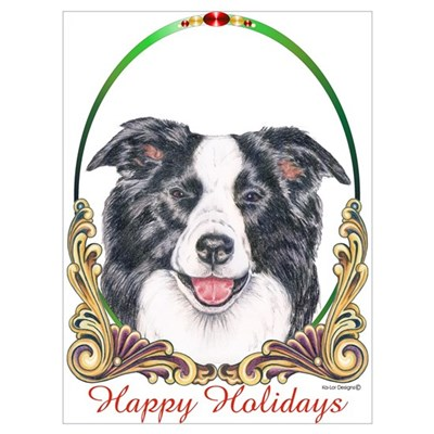 Border Collie Dog Small Holiday Canvas Art