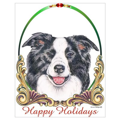 Border Collie Dog Small Holiday Poster