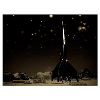 Spacemen and Rocketship Poster
