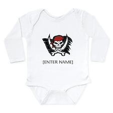 Pirate Flag Personalize! Long Sleeve Infant Bodysu