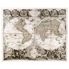 1708 World Map Poster