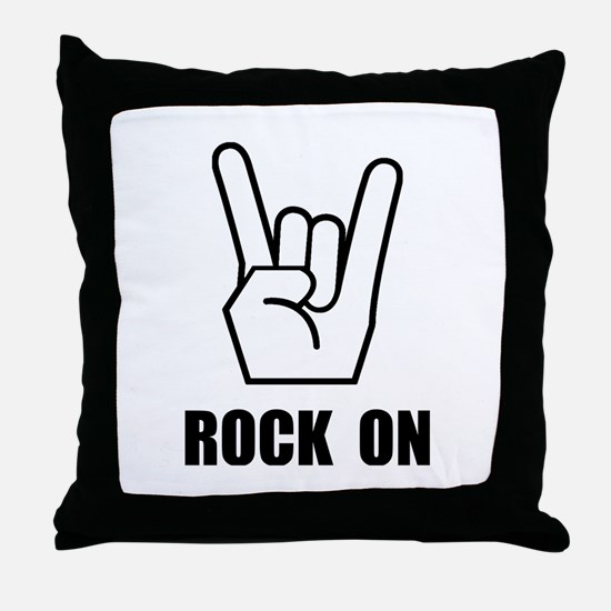 Rock On Sign Throw Pillow