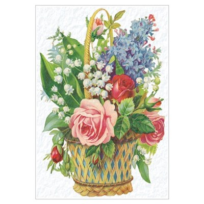 Basket of Spring Flowers Canvas Art