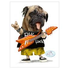 Pug Rocker Poster