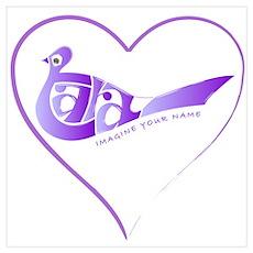 Tara purple bird in a heart Poster