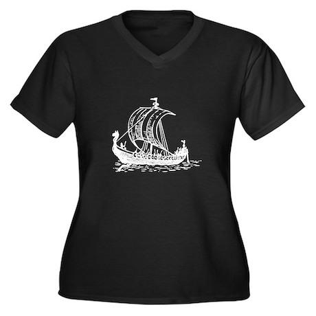 Viking Ship Women's Plus Size V-Neck Dark T-Shirt
