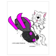 Snowmobile Cat Pink Poster
