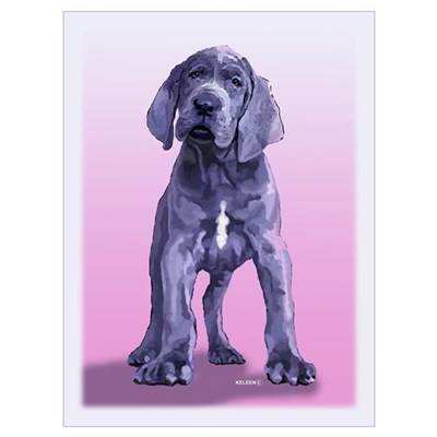 Blue Great Dane Puppy Painting Poster