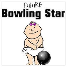 Future Bowling Star Girl Nursery Poster