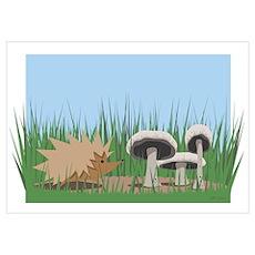 Hedgehog & Mushrooms Poster