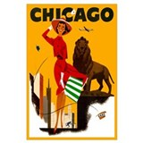 Vintage chicago Wrapped Canvas Art