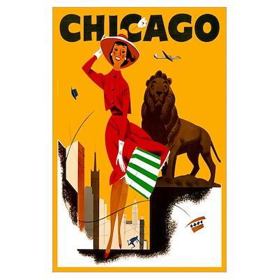 Vintage Chicago Travel Poster