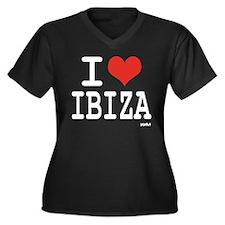 I love Ibiza Women's Plus Size V-Neck Dark T-Shirt