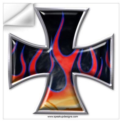 Flaming Iron Cross Wall Decal