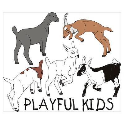 Playful Goat Kids Poster