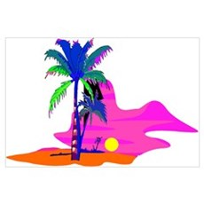 Palm Island Sunset Poster
