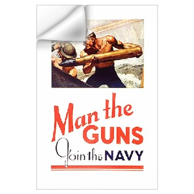 Navy Print: Man The Guns Wall Decal