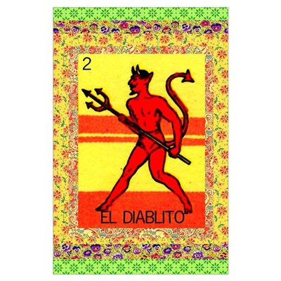 Vintage Loteria Devil Poster