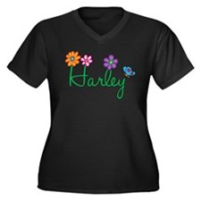 Harley Flowers Women's Plus Size V-Neck Dark T-Shi