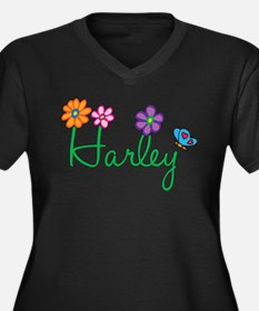 Harley Flowers Women's Plus Size V-Neck Dark T-Shi