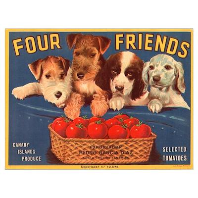 Vintage Four Friends Crate La Poster