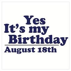 August 18 Birthday Poster