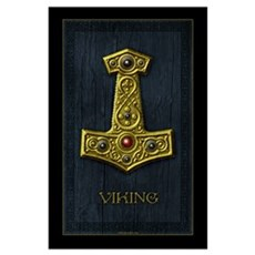 Thor's Hammer X Gold- Viking Poster