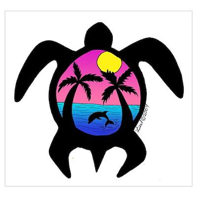 Sunset Sea Turtle Poster